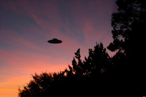 Sinister looking UFO at sunrise