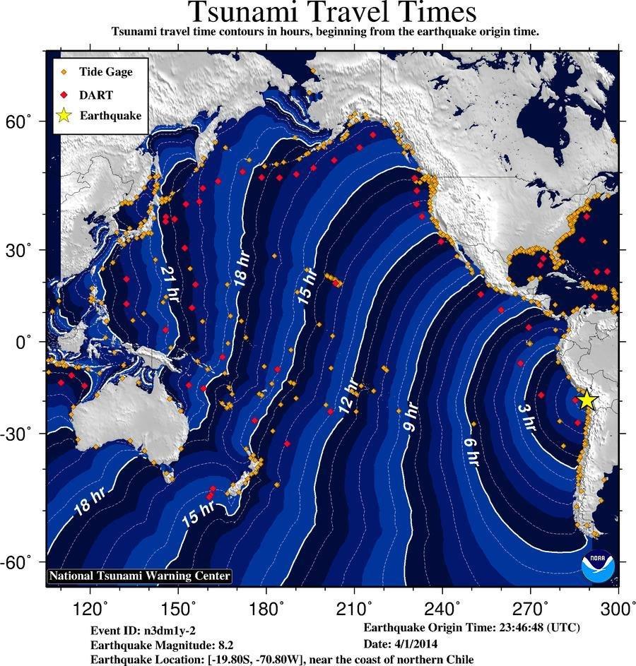 Chile Tsunami Travel Times