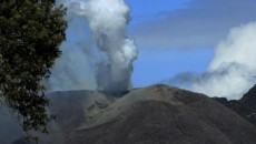 Smoke rises from the Turrialba volcano in Turriaba, west of San Jose