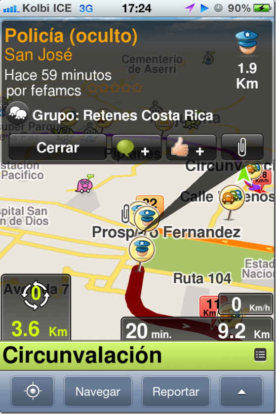 costa rica waze map giving directons 1