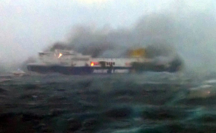 Ferry catches fire off coast of Greece