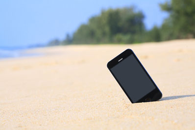 cell phone on beach