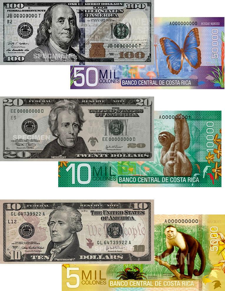 costa rica colon and US dollar