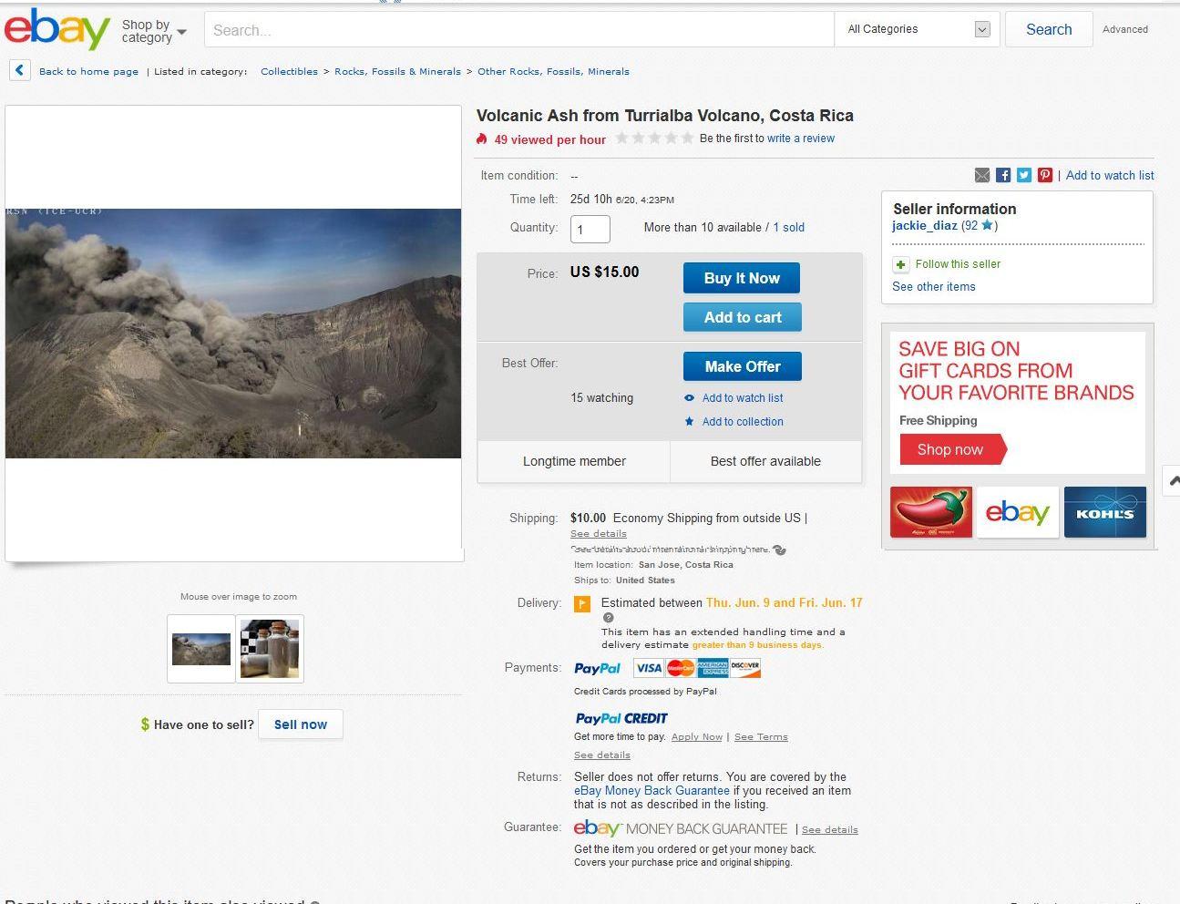 costa rica volcano turrialba-ash-on ebay